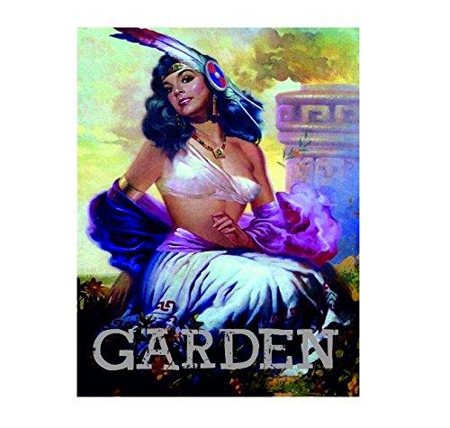 Ecool Mexique Latina Señorita Lady Pin Up Girl Jardin rétro Style Shabby Chic Style Vintage Photo Plaque Murale en métal (200 mm X 150 mm)