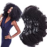 Morningsilkwig Afro Kinky Curly Clip Extensiones De Cabello Humano Nautral Black Clip Plena Cabeza 8 pcs/set Brazilian Remy Hair Clip 120g (10inch/25cm 8pcs/120g, Negro)