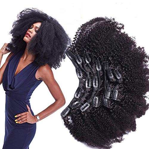 Morningsilkwig Afro Clips perruque femme naturelle des Extensions de Cheveux Trombone en pleine tête 8pc /ensemble cheveux humain ondulé brésil rémy Barrette ins 120g (18inch 8pcs/120g, Black)