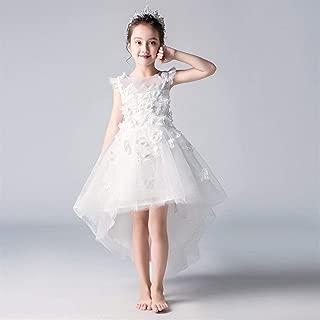 Luxury Pompon Yarn Princess Skirt Girls Dress Children's Presenter Small White Flower Girl Dress Wedding Dress Piano Performance Clothing Decals ryq (Color : White b, Size : 150cm)