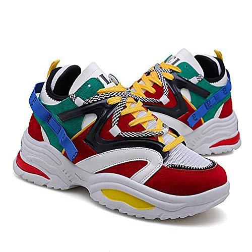 Zapatillas de Deporte para Hombre Zapatillas de Suela Gruesa Zapatos Deportivos Casuales de época Zapatos con Cordones Unisex Zapatos Ligeros para Caminar Malla Transpirable Clunky