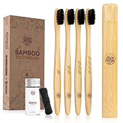 Greenzla Bamboo Toothbrush Set (4 Pack) With Travel Toothbrush Case & Charcoal Dental Floss in Small Jar | Natural Eco Friendly Toothbrushes for Adults | BPA Free & Biodegradable Wooden Toothbrushes