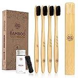Greenzla Set de Brosse à Dent Bambou - 4 Brosses à Dents Bambou avec Porte Brosse,...