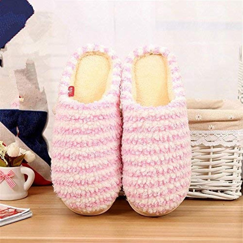 JaHGDU Ladies Slippers Indoors to Keep Wwarm in Autumn and Winter Leisure Cotton Slip Slippers Cute Stripe Pattern Female Flip Flop