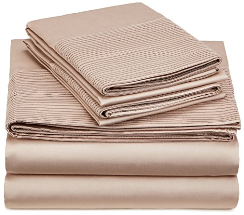 Amazon Brand – Pinzon 400-Thread-Count Egyptian Cotton Sateen Pleated Hem Sheet Set - Cal King, Mocha