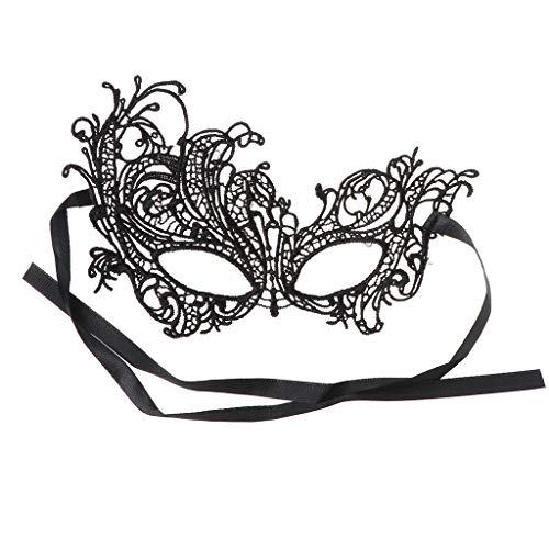 AERVEAL Sexy Negro Mujer Vintage Elegante Vestido de Fiesta de graduación Encaje Ojo mascarilla Mascarada, lámpara de Linterna