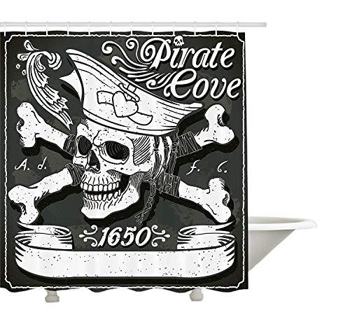 yeuss Pirat Duschvorhang, Flagge Pirat Cove von 1650Vintage mit gekreuzten Knochen Herzen Swirls mit Blumenmuster, Stoff Badezimmer Set mit Haken, Schwarz, Weiß, Grau, ' 66'x72'(165cmx180cm)
