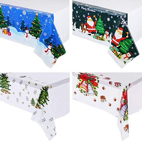 QICI 4 manteles de plástico para fiesta de Navidad, diseño de flores de Navidad, mantel desechable, cubierta de mesa, decoración de mesa, suministros de 108 x 180 cm
