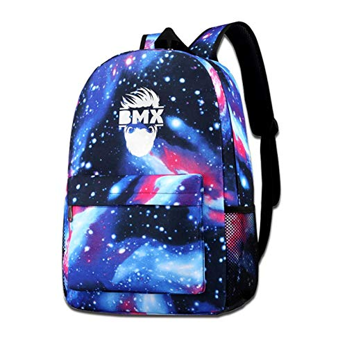 Zxhalkhfd Bearded Bmx Bike Travel Backpack College School Business Blue One Size