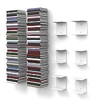 Bücherstapel bis zu 300 cm Höhe Geeignet für Bücher bis zu 22 cm Tiefe Bis zu 10 kg Gewicht je Boden (20 kg pro Regal, 60 kg pro 3er-Set) In zwei Farben und Größen bestellbar (schwarz oder weiß und klein oder groß) Flexible Anbringung an der Wand dur...