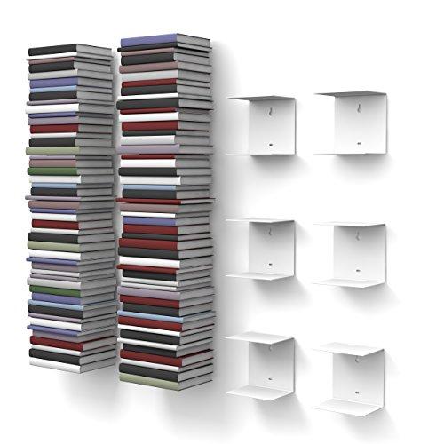 home3000 6 weiße unsichtbare Bücherregale mit 12 Fächern bis zu 300 cm hohen Bücherstapel für Bücher bis zu 22 cm Tiefe.