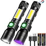 UV Taschenlampe 3 in 1 UV Lampe, LED Taschenlampe USB Aufladbar Magnet Zoombar, Banral Wasserdicht COB Arbeitsleuchte, 7 Modi, 395nm Ultraviolett Licht Urin detektor für Haustier(Mit 2 pc 18650 Akku)