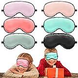6 Máscaras de Ojos de Seda para Dormir para Niños Cubiertas Suaves para Ojos Máscara Satinada de Ojos con Correa Ajustable Venda de Ojo de Noche para Dormir Viseras de Noche para Niños