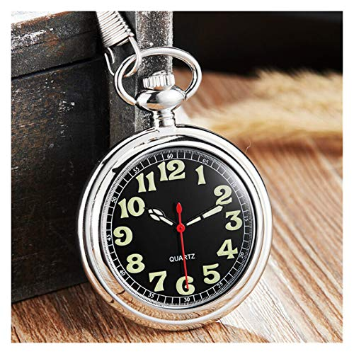 JWGD Silber Taschenuhr Kupfer Automatische mechanische Taschenuhren Männer Frauen Skeleton Steampunk Selbstwinding Uhr Kette Anhänger (Farbe : Silver Quartz Watch)