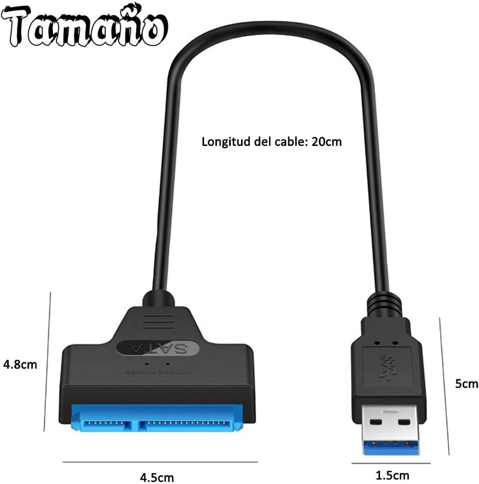 AISOO Cable USB 3.0 a SATA Adaptador USB 3.1 a SATA Externo Convertidor Type C a SATA para Disco Duro 2.5 SSD HDD Hard Drive Adapter Conversor USB to SATA III con UASP Apto Windows Mac OS
