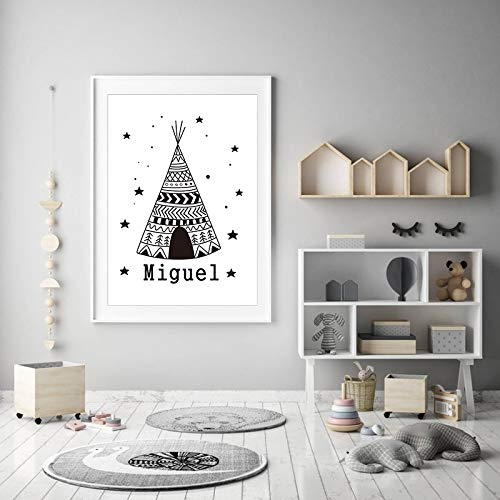 N / A Personalized Name Tent Star Nordic Decor Canvas Painting Nursery Scandinavian Black and White Wall Pictures for Kids Room Decor A41 60x90cm