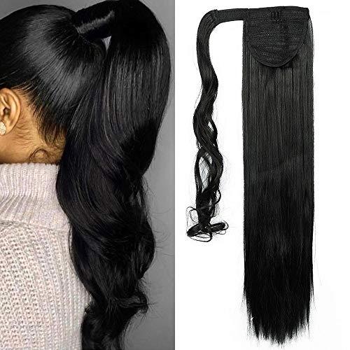 TESS Pferdeschwanz Extensions Ponytail Haarteil Clip in wie Echthaar Haarverlängerung günstig Zopf Extensions Haarteile Glatt 23