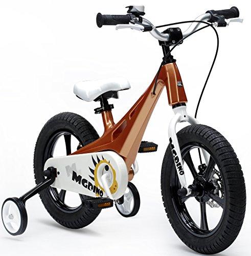 """Y & Y TOY STORE ON LINE Royal bebé 14""""MG de Dinosaurio de los niños Niños Bicicleta–Ligero Marco de magnesio–estabilizadores–función Atril, Dorado"""
