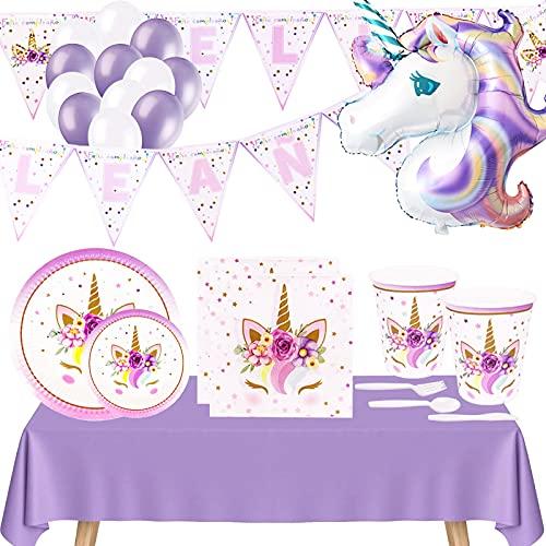 Pack Completo Cumpleaños Unicornio para Infantil Niña,Set Decoración Cumpleaños-Globos,Guirnalda Banderines Feliz Cumpleaños,Kit Vajilla Desechable Cartón-Platos,Vasos,Servilletas,Mantel,Color Lavanda