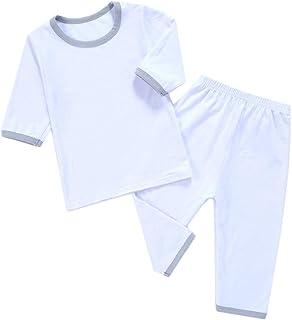 [CAIXINGYI] 子供 ボーイズ カジュアル 90-15 cm パジャマ 夏 女の子 子供 家庭服 7色 夏 純綿 男童 エアコン 服 七分袖 スーツ