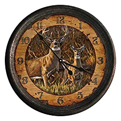 River's Edge Products Round Wall Clock, 15 Inch Diameter Tin Frame, Distressed Analog Clock, Buck and Doe