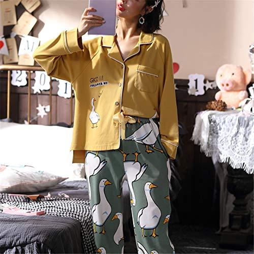 DUJUN Pijama Mujer de Algodón Invierno Otoño Mangas Larga Ropa,Manga Larga de algodón XL Suelta A-7 XL