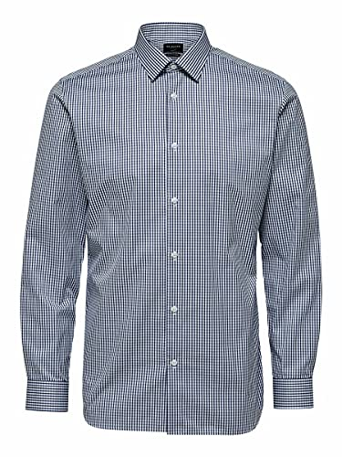 SELECTED HOMME SLHSLIMNEW-Mark Shirt LS B Noos Camicia, White/AOP: AOP, Blau Uomo