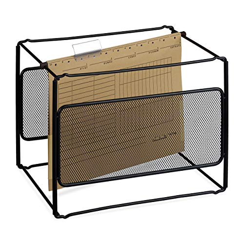 Relaxdays Archivador para carpetas colgantes, Soporte para documentos, Organizador, 25,5 x 33 x 25 cm, 1 Ud., Negro