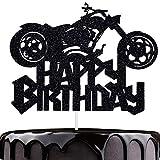 Artczlay Happy Birthday Cake Topper Black Flash Motorcycle Party Decoration Birthday Party Cake...