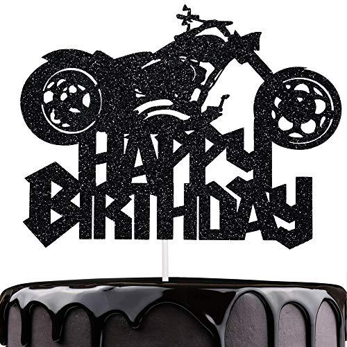 Artczlay Happy Birthday Cake Topper Black Flash Motorcycle Party Decoration Birthday Party Cake Decoration