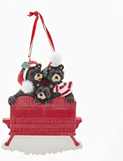 Kurt Adler A1854 Black Bear Family of 3 on Chair Hanging Ornament for Personalization, 4-inch Length, Resin