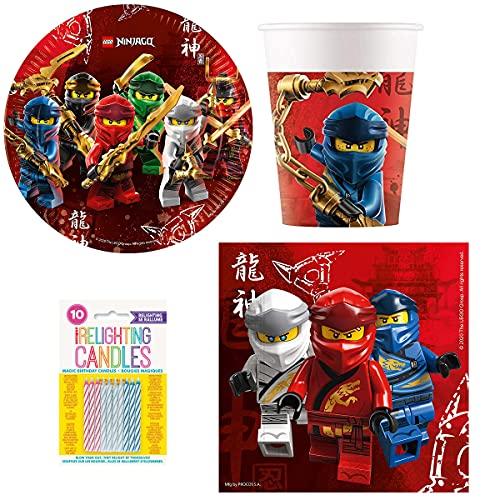 Kit de cumpleaños Lego Ninjago 52 piezas (16 platos, 16 vasos, 20 servilletas + 10 velas mágicas incluidas) decoración fiesta 16 niños