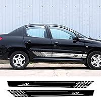 JIERS プジョー207用、自動装飾車のドアサイドスカートストライプデカールステッカー車のアクセサリー車のステッカー