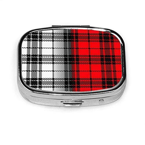 Juego de 2 pastilleros cuadrados cuadrados gruesos rojos negros abstractos cuadrados personalizados caja decorativa contenedor vitamínico bolsillo o cartera
