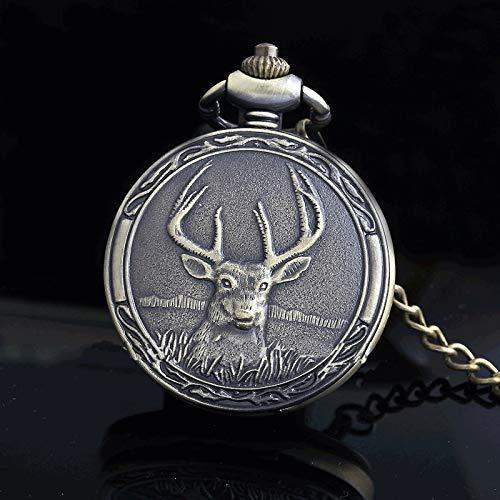 DSHUJC Schöne Hirsch römische Zahlen Quarz Taschenuhren Anhänger Halskette Taschenanhänger Kette Männer Frauen Uhren Geschenk