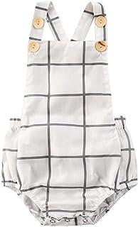 طفل بنين فتاة أكمام إجمالي الفتيات كشكش بذلة الصيف ارتداءها الرضع فحص الملابس 0-24months (Color : White, Kid Size : 18M)