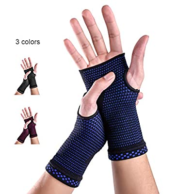 Wrist Brace Sleeves (Pair) with Medical Compression for Carpal Tunnel and Wrist Pain Relief Treatment,Night Wrist Sleep Support Brace for Men and Women (Blue, Small)