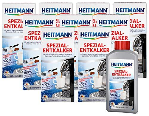 Heitmann Kaffeevollautomaten Entkalker: Kalklöser für Kaffeemaschinen, Espressomaschinen, Padmaschinen, 10x 250 ml