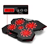 TopMate C7 Laptop Cooling Pad Up to 17 Inch Gaming Laptop Cooler | 5 Quiet Fans with Red Led Lights 2 USB Ports | Red