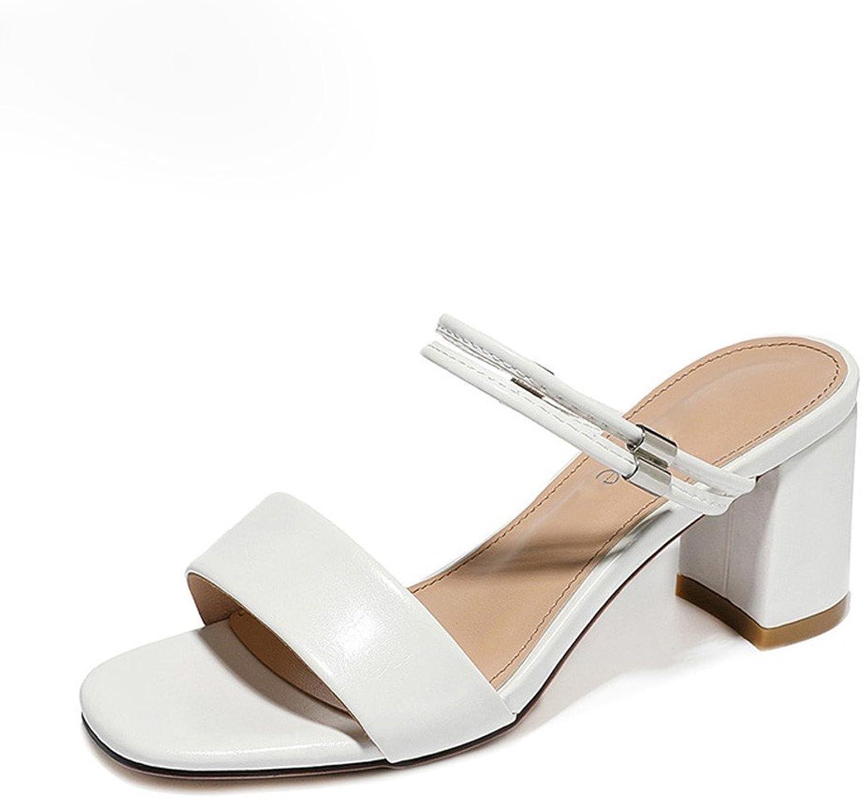 Damen Sandalen und Pantoffeln Dicke Fersen Sommermode Mid-Heeled Damen Sandalen Casual Wort Sandalen und Hausschuhe