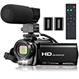 Video Camera Camcorder Full HD 1080P 30FPS 24 MP YouTube Camera Recorder 16X Zoom 3.0 Inch 270° Rotation IPS Screen Digital Vlogging Camera Camcorders with Microphone, Remote, 2 Batteries