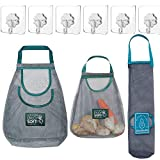 Hanging Produce Bag,3Pcs Eco Friendly Vegetable Storage Bags Reusable Grocery mesh Bags with 3pcs Hooks for Onions,Potatoes,Vegetable,Fruit and Miscellaneous