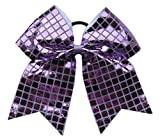 """New""""DISCO SQUARES Lilac Purple"""" Cheer Bow Pony Tail 3"""" Ribbon Girls Hair Bows Cheerleading Dance Practice Football Games Competition Birthday"""