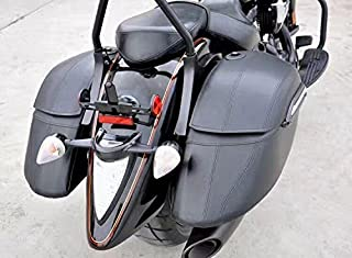 Motorcycle Black Hard Saddle Bag Saddlebags Luggage Trunk Case Box for HD Harley Fat Boy Fatboy FLSTF Softail Deluxe FLSTN Road King FLHR PoliceClassicCustom EFI FLHPI