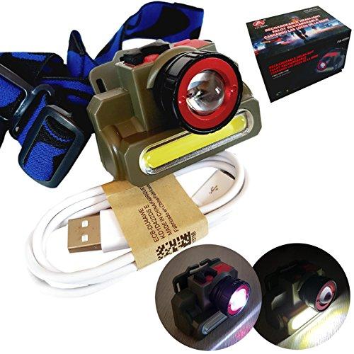 Lampe frontale CREE XPR LED + Cob rechargeable sur USB Puissante Forte
