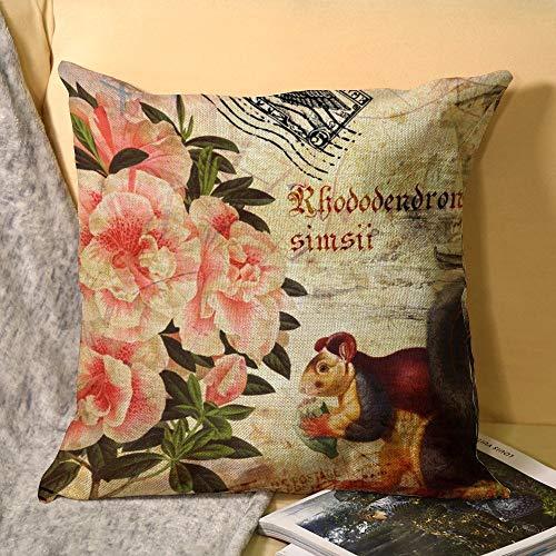 Hioilyday Retro, patrón abstracto, sello, pintura de ardilla, flores de peonía y árboles, funda de almohada cuadrada de doble cara, funda de almohada para dormitorio, sofá, decoración del coche, 45 x 45 cm