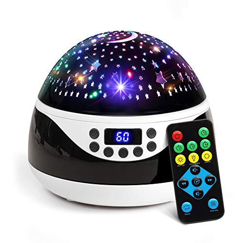 2018 NEWEST Baby Night Light, AnanBros Remote Control Star Projector with Timer Music Player, Rotating Star Night Light 9 Color Options, Best Night Lights for kids Adults and Nursery Decor