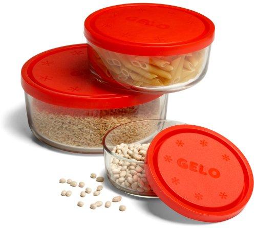 Bormioli Rocco Gelo Glass Storage Bowls with Red Lids (Set of 3)