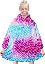 PASHOP Kids Blanket Sweatshirt Comfy Oversized Sherpa Hooded Wearable Blankets with Large Pocket for Girls Boys