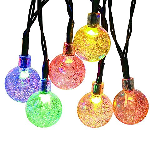 Cmyk Solar Operated 30 LED String Light with Crystal Ball Covers, Ambiance Lighting, Great for Outdoor Use in Patio, Pathway, Garden, Indoor Use in Party, Bedroom Decor